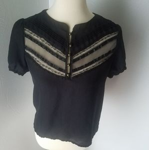 Forever 21 black sheer lace camisole blouse